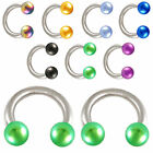 Pair horseshoe bars eyebrow barbell tragus rings 9HOB-SELECTION OF SIZE&COLOUR