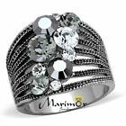 Women's Vintage Stainless Steel Aaagrade Crystal Cocktail Fashion Ring Size 5-10