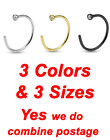 3 Colors, 2mm CZ Top Titanium Anodized Over 316L Surgical Steel Nose Hoop Ring