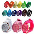 Geneva Silicone Golden Crystal Stone Quartz Ladies Women Girls Jelly Wrist Watch