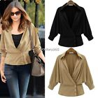 New Womens Elegant V Neck Tops Professional Blouse Chiffon 3/4 Sleeve Shirt