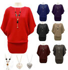 NEW LADIES WOMENS KNITTED BATWING JUMPER DRESS TOP WITH NECKLACE SIZE 8 10 12 14