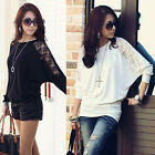 2014 Sexy Ladies' White Black Batwing Lace Long Sleeve Loose T-Shirt Blouse Top
