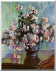 Vase of Chrysanthemums by Claude Monet Stretched Painting Repro Giclee Art Print