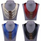 Fashion Multi Layers Waxed Cords Strings Pendant Bib Necklace Statement Collar