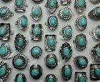wholesale 4-40pcs women's pretty turquoise silver plated rings free shipping