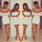 New Ladies Off Shoulder Cutout Back Full Lace Bodycon Mini Dress AU Size 6-14