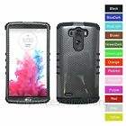 For LG G3 Carbon Fiber Design Hard &Rubber Hybrid Rugged Impact Phone Case Cover