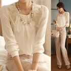 New Fashion Women Long Sleeve Vintage Sheer Tops Lace Shirt Chiffon Blouse