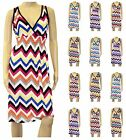 New Womens V Neck Chevron Print Hot Design Sexy Style Formal Party Summer Dress