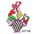 Christmas Gifts Flowers Bowknot Brooch Pins Crystal Basket Bowknot Charm Party