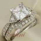 2.5 Ct Princess Cut AAA CZ 925 Sterling Silver Wedding Ring Set Womens Size 5-10