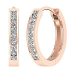Hoops Earrings Natural SI1/G 0.40Ct Channel Set Diamond Jewelry 14Kt Yellow Gold