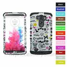For LG G3 Happy Love Cartoon Design Hard&Rubber Hybrid Rugged Impact Case Cover