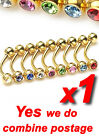 Gold Plated 316L Curved Eyebrow Bar Rings with Press-Fit Gem Crystal Balls