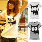 Women Lady Vintage Lovely Cat Printed Short Sleeve T Shirt Tee Casual Blouse Top