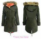 NEW LADIES OVERSIZED HOODED FUR PARKA WOMENS FISHTAIL JACKET COAT SIZES 8-20