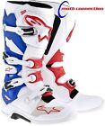 ALPINE STARS TECH 7 MOTOCROSS  BOOTS  WHITE/RED/BLUE - FREE DELIVERY