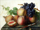 """Poster / Leinwandbild """"Still Life with Peaches and Grapes on Marble"""" - J. Dael"""