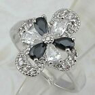 Size 8 9 Nice Flower Black & White CZ Jewelry Gold Filled Woman Gift Ring K860