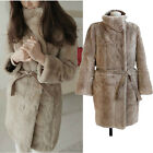 Woman's Faux Rex Rabbit fur OverCoat Jacket Tops Long Coat PARKA Outwear + Belt