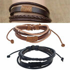CHIC Men Fashion Punk Handmade Black Leather Surfer Braided Wristband Bracelet