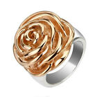 316L Stainless Steel Ladies' Rose Gold Rose Flower Ring Size 6-9