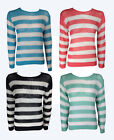 **REDUCED** NEW STRIPE SCOOP NECK OPEN KNIT LONG SLEEVE KNITTED JUMPER 8-14 SALE