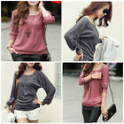 New Women Ladies T-Shirt Long Sleeve Tops Loose Batwing Blouse Sexy Fashion