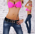 New Sexy Women's Hipster Jeans blue wash Jeans Bootcut Belt Size 6,8,10,12,14