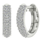 Hoops Huggie Earrings SI1/G Pave Set 0.50Ct Real Diamond Jewelry 14Kt Solid Gold