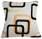 Qb301ba Khaki Black Lt.Orange Linen Blend Checker Cushion Cover/Pillow Case Size