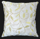 wh04a Gray, Olive Leaf Embroidered Chenille Throw Pillow CASE/Cushion COVER*Size
