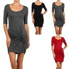 Twisted Front Accent Half Sleeve Round Neck Mini Dress Stylish Cute Rayon S M L