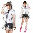 Transparent Clear Womens Girls Fashion Rain Coat Festival Camping Raincoat