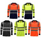 Hi Vis High Viz Visibility Long Sleeve Safety Work Polo T Shirt EN471 - HV005