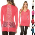 Women's Lace and Zip Back Sweater - One Size S/M/L
