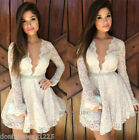 Women Hot Sexy V Neck Long Sleeve Lace Prom Club Cocktail Party Mini Dress White