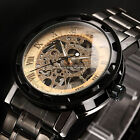 New Men Classic Transparent Steampunk Skeleton Mechanical Stainless Steel Watch <br/> ✔10,000+Sold✔HOT SPORT Watch✔Multi-Choices✔Army Watch✔