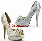 Ladies Diamante Studded Bow Peep Toe Platform High Heel Shoes Champagne o Silver