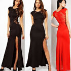 Fashion Sexy Trendy Elegant Womens Long lace Dress Gown Evening Cocktail Party