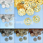200-300Pcs Flowers Normal Filigree 1.5x8.5mm Beads Caps Findings Jewelry Making