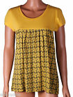 Fenchurch Womens Yellow Black Print Longline T Shirt Top Free UK Shipping Small