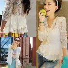 Elegant Womens V-neck Chiffon Lace Embroidery Shirt Long Sleeve Blouse Tops #CB