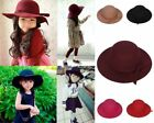 Vintage Kids Girl Child Wool Spinning Floppy Felt Hat Wide Brim Fedora Derby Cap