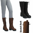 LADIES MID CALF BOOTS WOMENS FLAT HEEL LOW STRETCH LACE UP WINTER RIDING BOOTS
