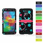 For Samsung Galaxy S5 Teal & Red Bubbles Design Hybrid Rugged Impact Case Cover