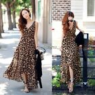 SEXY VINTAGE WOMEN SUMMER LEOPARD CHIFFON LONG MAXI EVENING COCKTAIL PARTY DRESS