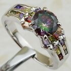 Size 6 7 8 9 Colorful Super Nice Rainbow topaz Gems Gold Filled Woman Ring K2097