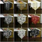 Luxury French Abstract Embroidery Sequins Tassel Decorative Table Runner Cloth